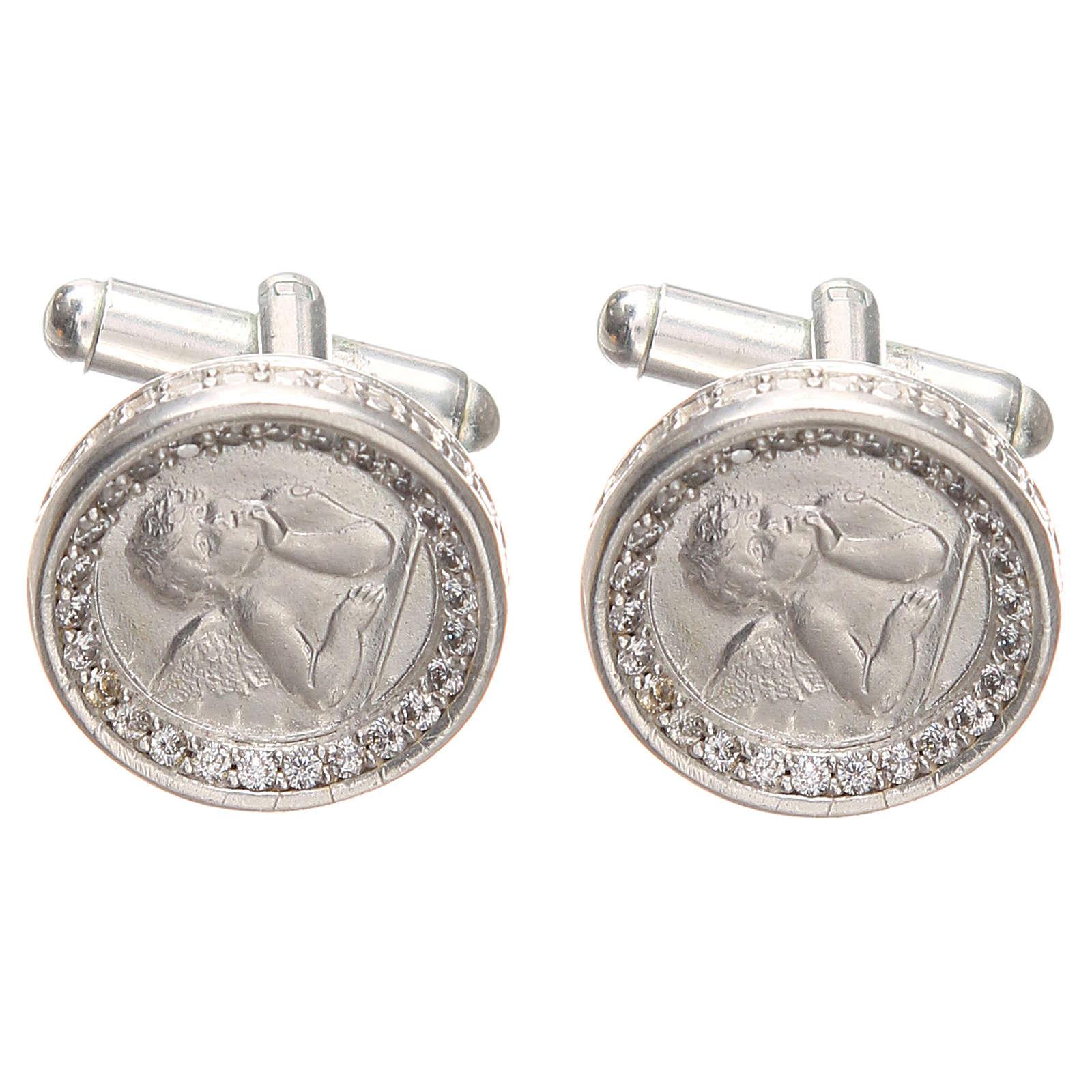 Cufflinks with Raffaello' angel in rodiated silver800, 1,7cm 4