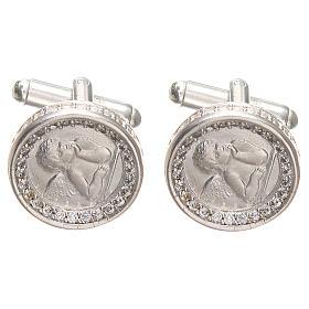 Cufflinks with Raffaello' angel in rodiated silver800, 1,7cm s1