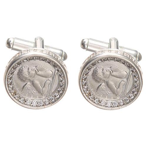 Cufflinks with Raffaello' angel in rodiated silver800, 1,7cm 1