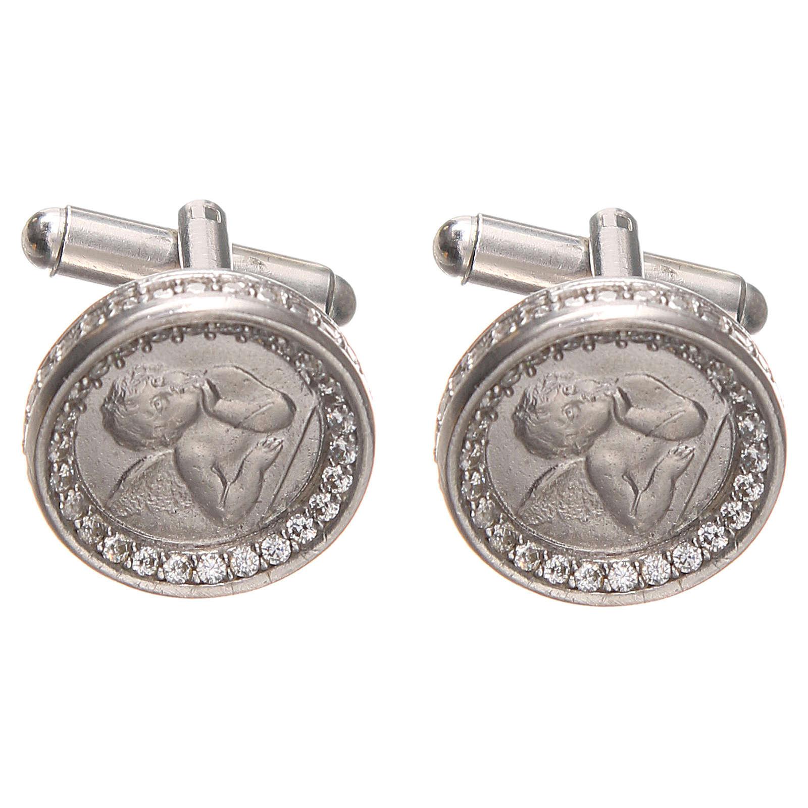 Spinki męskie srebro 800 z Aniołem Raffaella 1.7 cm 4