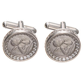 Cufflinks with Raffaello' angel in silver 800, 1,7cm s1