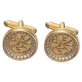 Botões de Punho: Botões de punho camisa homem Latão Dourado símbolo Chi Rho 1,7 cm