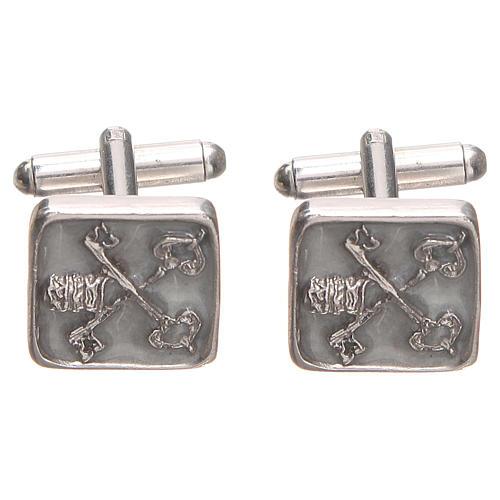 Gemelli da polso argento 800 Chiavi Vaticano 1,5x1,5 cm 1