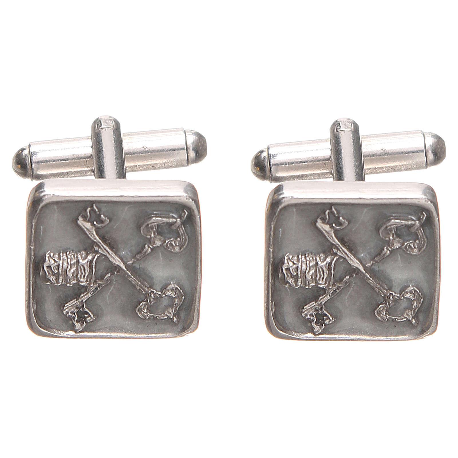 Botões de punho homem prata 800 Chaves Vaticano 1,5x1,5 cm 4