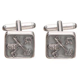 Botões de punho homem prata 800 Chaves Vaticano 1,5x1,5 cm s1