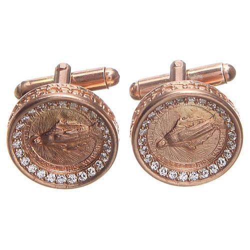 Botões de punho redondos prata 800 Nossa Senhora Medalha Milagrosa 1,7 cm 1
