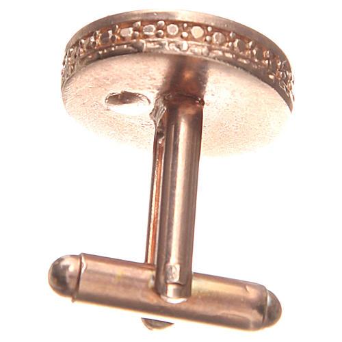 Botões de punho redondos prata 800 Nossa Senhora Medalha Milagrosa 1,7 cm 2