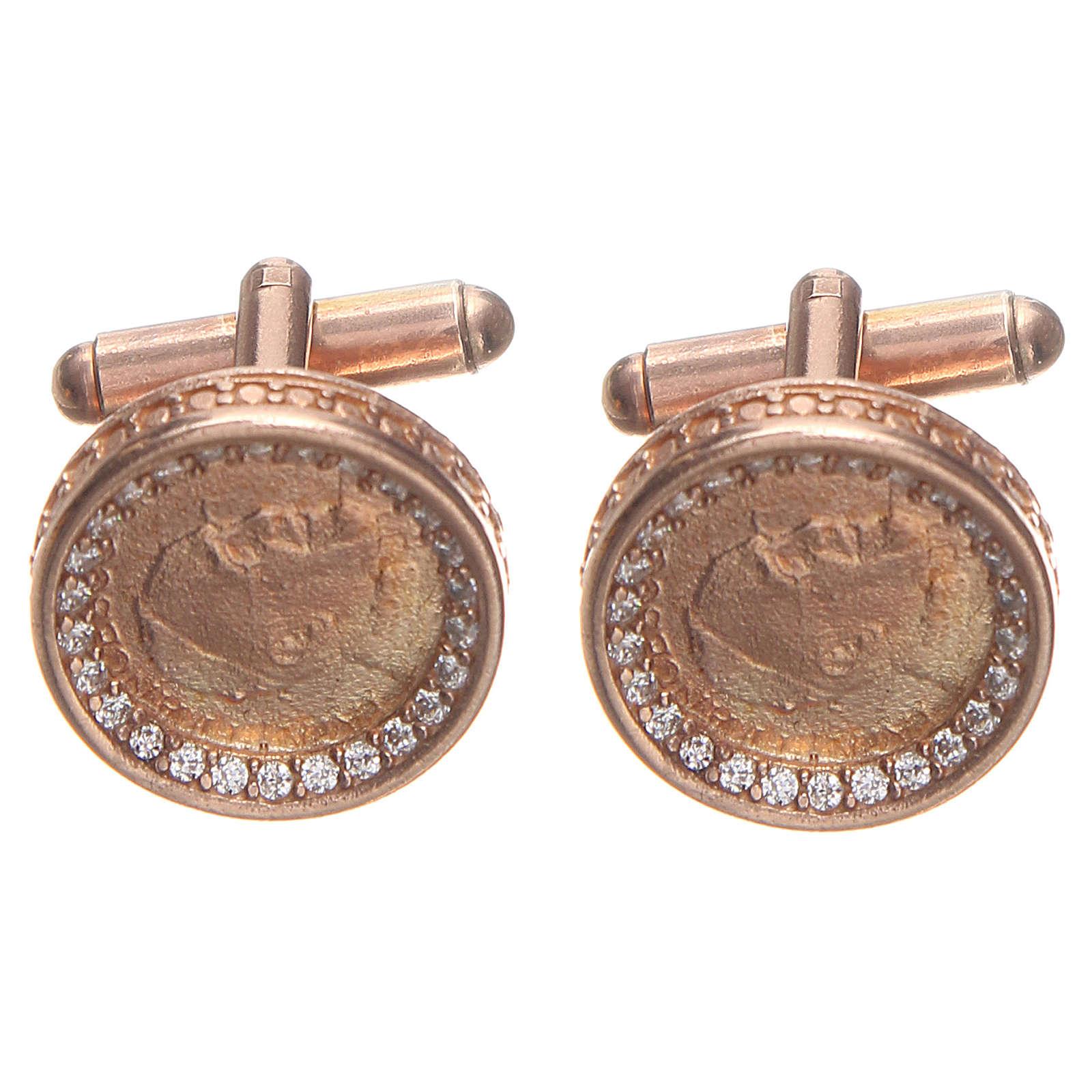 Mancuernillas de pulsera plata 800 Papa Francisco 1,7 cm rosada 4