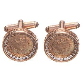 Botões de punho redondos prata 800 Papa Francisco 1,7 cm rosé s1