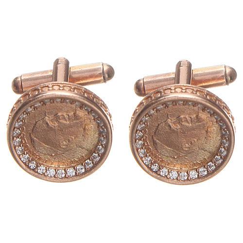 Botões de punho redondos prata 800 Papa Francisco 1,7 cm rosé 1