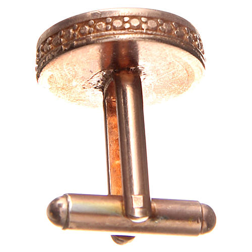 Botões de punho redondos prata 800 Papa Francisco 1,7 cm rosé 2
