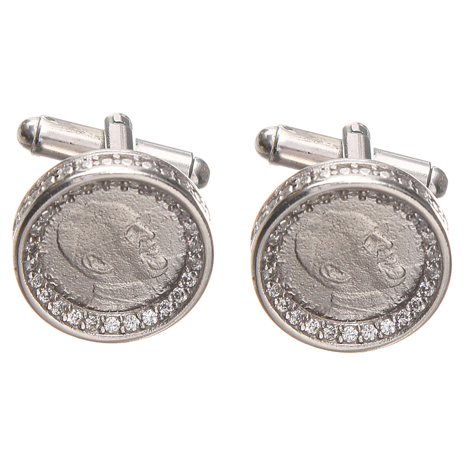 Mancuernillas de pulsera plata 800 Papa Francisco 1,7 cm 4
