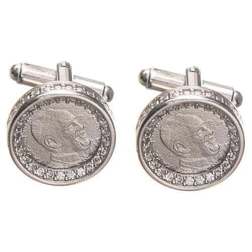 Mancuernillas de pulsera plata 800 Papa Francisco 1,7 cm 1