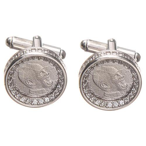 Cufflinks Silver 800, Pope Francis 1,7cm 1