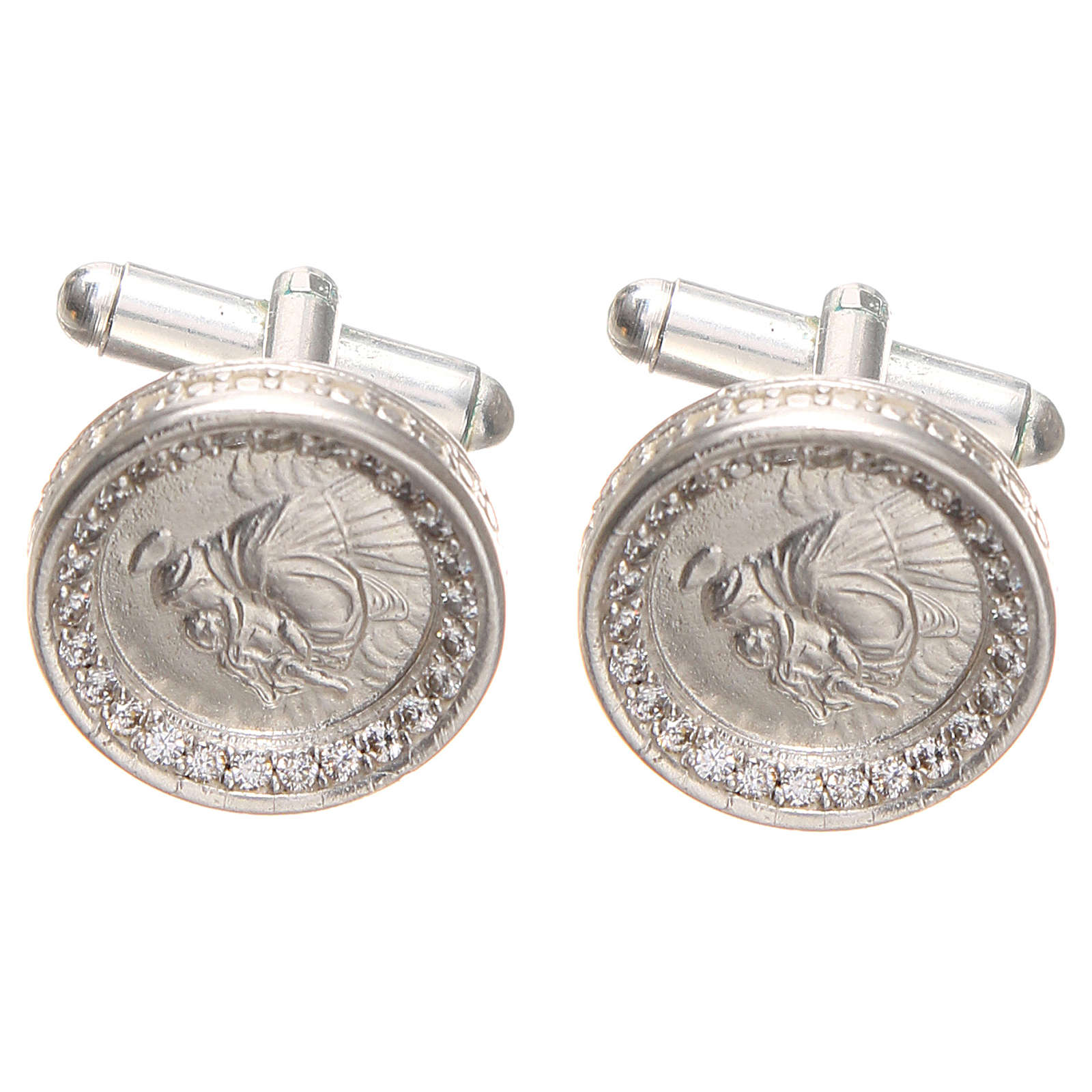 Cufflinks Silver 800 rhodium-plated, St. Anthony of Padua 1,7cm 4