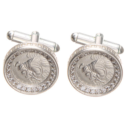 Cufflinks Silver 800 rhodium-plated, St. Anthony of Padua 1,7cm 1