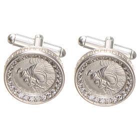Botões de Punho: Botões de punho redondos prata 800 radiada Santo António 1,7 cm