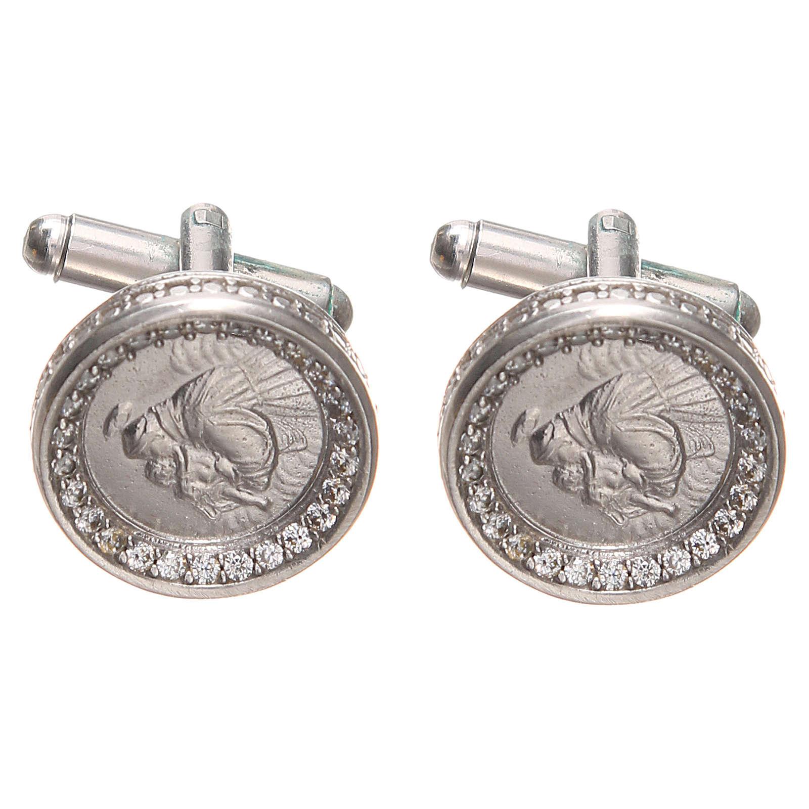Botões de punho redondos prata 800 Santo António 1,7 cm 4