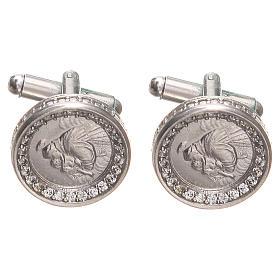 Botões de punho redondos prata 800 Santo António 1,7 cm s1