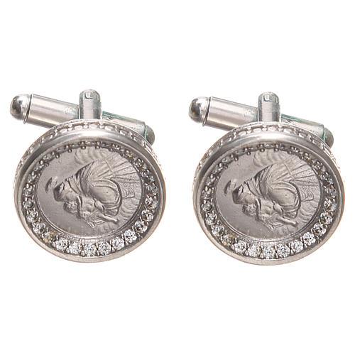 Botões de punho redondos prata 800 Santo António 1,7 cm 1