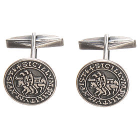 Gemelli per camicia argento 925 Sigillum Militum Xpisti 1,6 cm s1