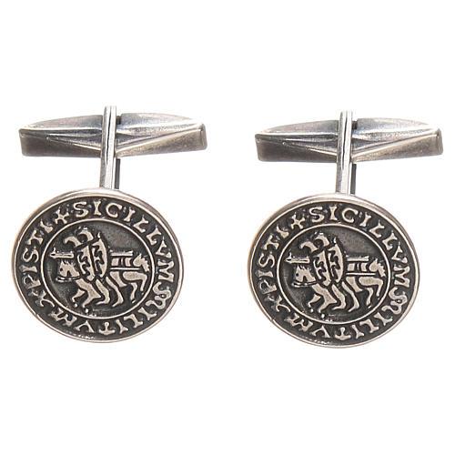 Gemelli per camicia argento 925 Sigillum Militum Xpisti 1,6 cm 1