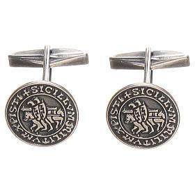 Botões de Punho: Botões de punho prata 925 Sigillum Militum Xpisti 1,6 cm
