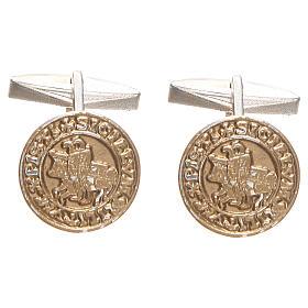 Spinki do mankietów: Spinki do koszuli srebro 800 pozłacane Sigillum Militum Xpisti 1.6 cm