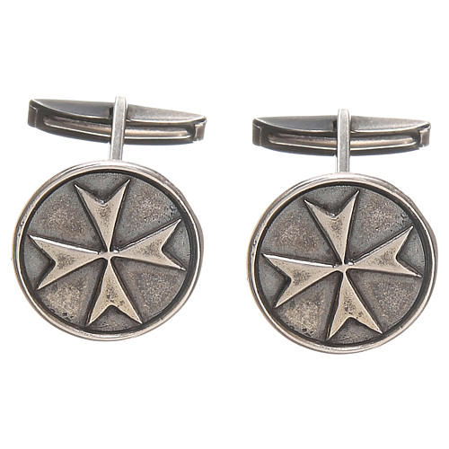 Maltese Cross Cufflinks in burnished 925 Silver 1
