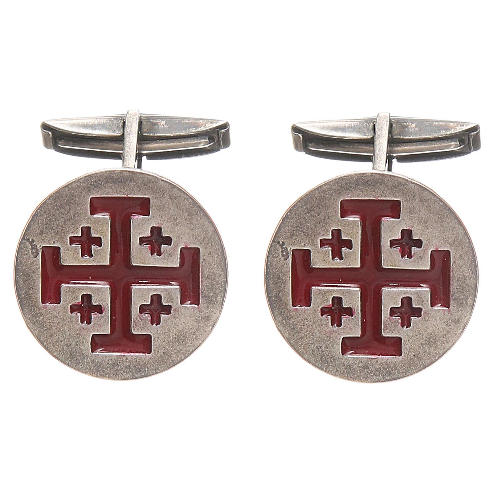 Manschettenknöpfe Silber 925 Jerusalem Kreuz 1,9cm rot 4