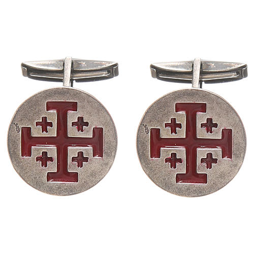 Cufflinks Silver 925, red Jerusalem Cross 1,9cm 1