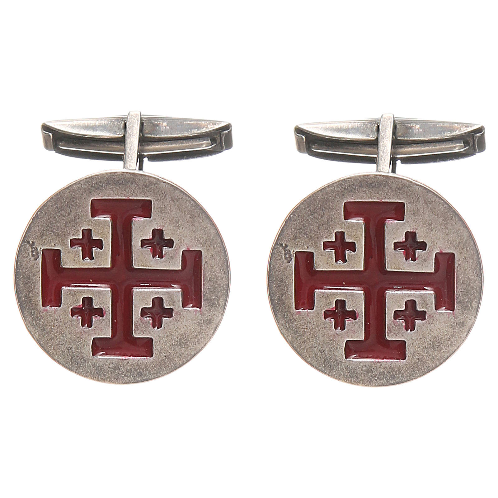 Cufflinks Silver 925, red Jerusalem Cross 1,9cm 4
