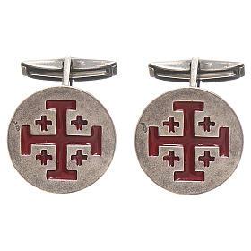 Cufflinks Silver 925, red Jerusalem Cross 1,9cm s1