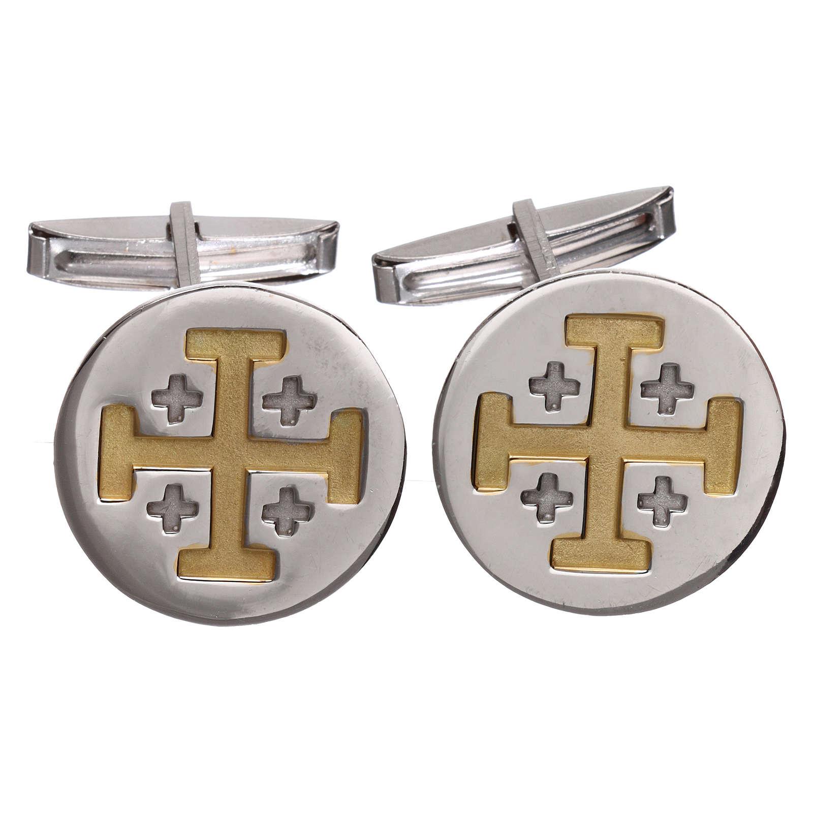 Cufflinks Silver 925 rhodium-plated, Jerusalem Cross 1,9cm 4