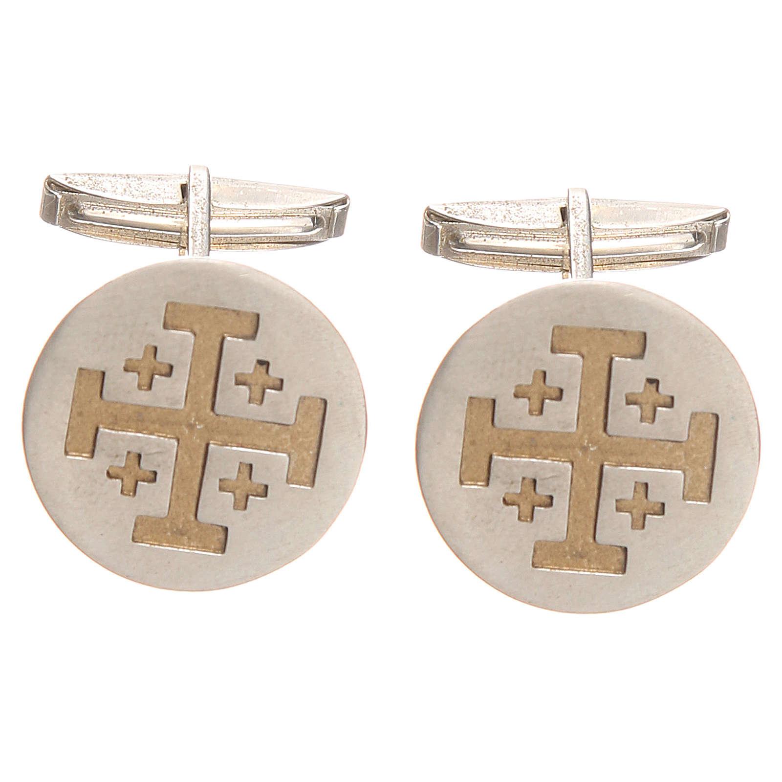 Gemelli camicia argento 800 rodiato Croce Gerusalemme 1,9 cm 4