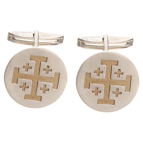 Gemelli camicia argento 800 rodiato Croce Gerusalemme 1,9 cm 1