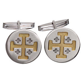 Botões de Punho: Botões punho camisa prata 800 rodiada Cruz Jerusalém 1,9 cm