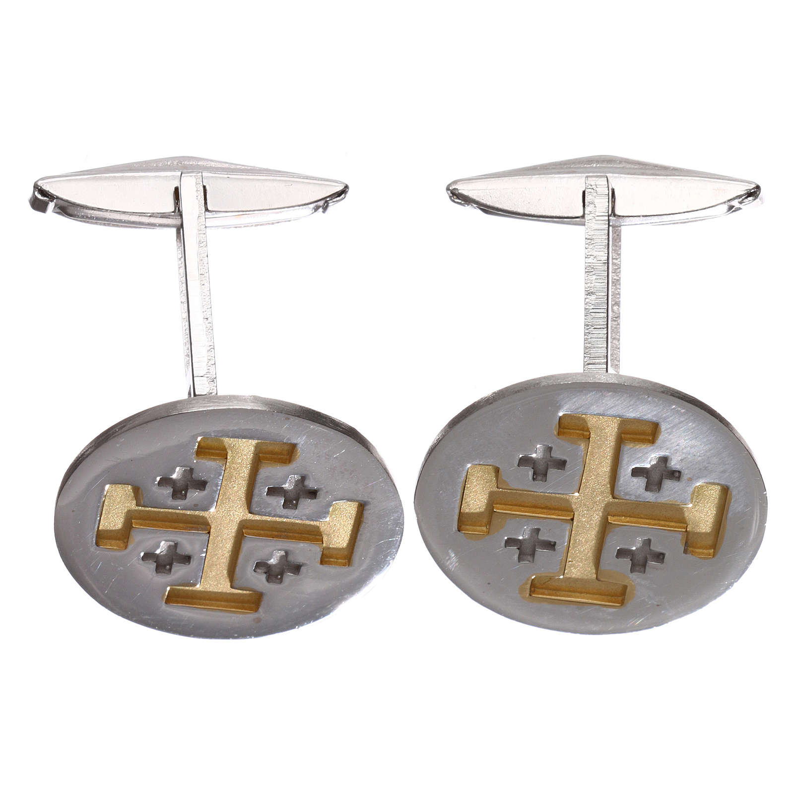 Cufflinks Silver 800 rhodium-plated, Jerusalem Cross 1,9cm 4