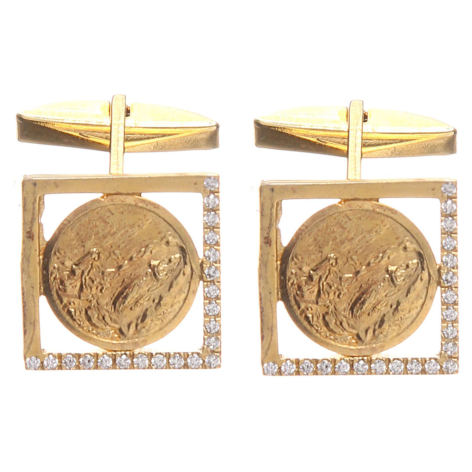 Spinki do koszuli srebro 925 pozłacane Madonna z Lourdes 1.7x1.7 cm 4
