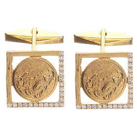 Botões de Punho: Botões punho camisa prata 925 dourada Nossa Senhora Lourdes 1,7 cm