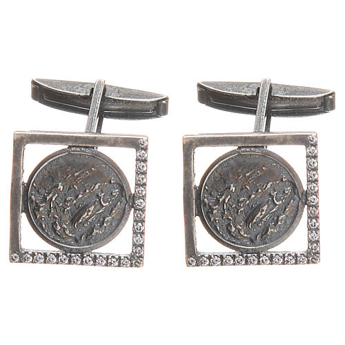 Gemelli camicia argento 800 Madonna Lourdes 1,7 cm 1