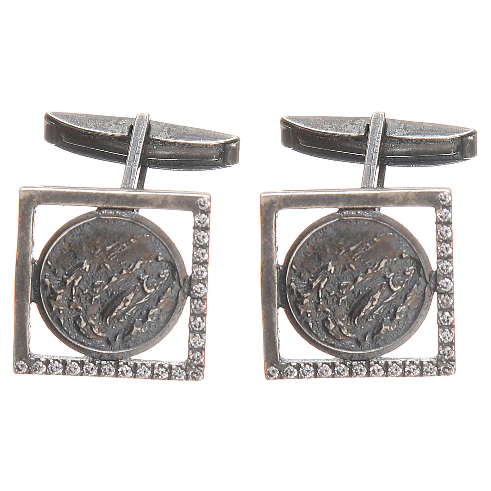 Our Lady of Lourdes Cufflinks in burnished 800 Silver 4