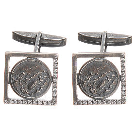 Our Lady of Lourdes Cufflinks in burnished 800 Silver s1