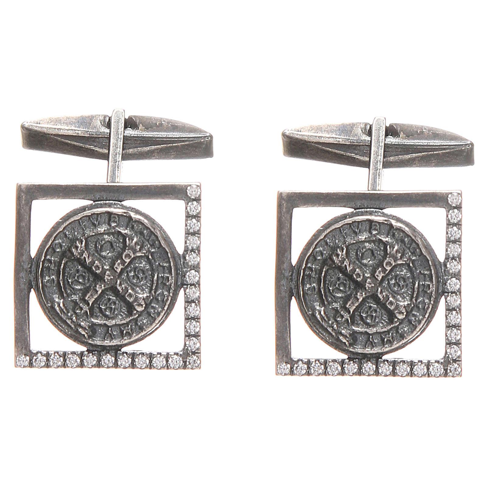 Gemelli camicia argento 925 Croce San Benedetto 1,7x1,7 cm 4