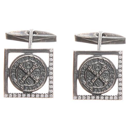 Gemelli camicia argento 925 Croce San Benedetto 1,7x1,7 cm 1