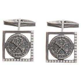 Botões de Punho: Botões punho camisa prata 925 Cruz São Bento 1,7x1,7 cm