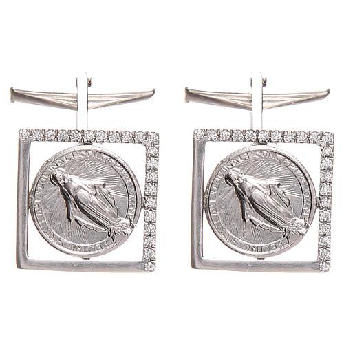 Cufflinks Silver 925, Miraculous Madonna 1,7x1,7cm 1