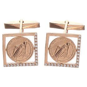 Botões de punho jóias prata 800 Medalha Milagrosa 1,7x1,7 cm s1
