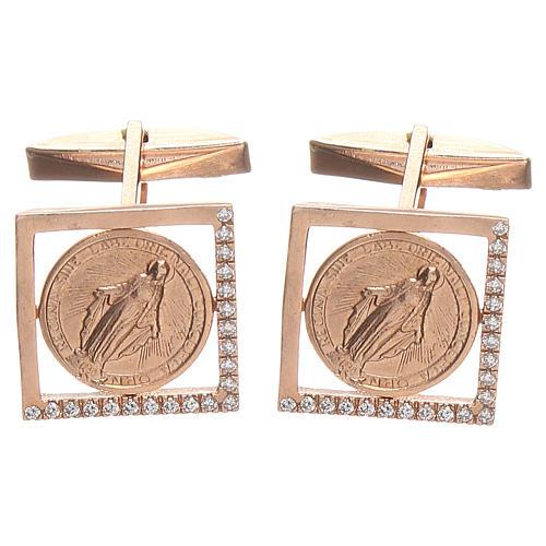 Botões de punho jóias prata 800 Medalha Milagrosa 1,7x1,7 cm 1