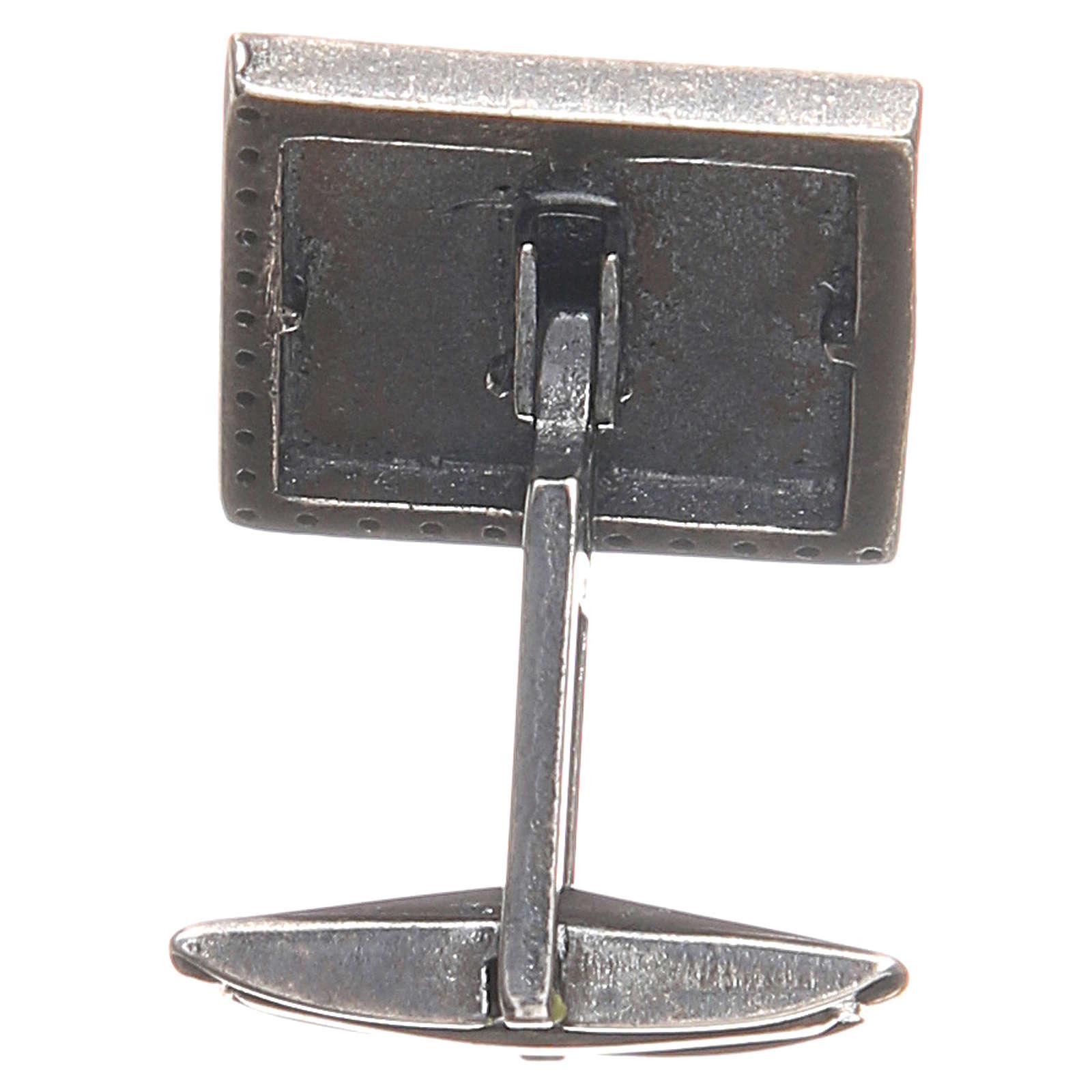 Manschettenknöpfe Silber 925 mit Kreuz 1,6x1,6cm weiss 4